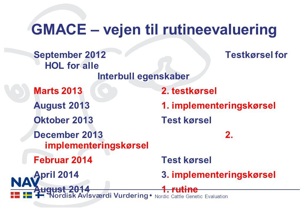 Nordisk Avlsværdi Vurdering Nordic Cattle Genetic Evaluation GMACE – vejen til rutineevaluering September 2012Testkørsel for HOL for alle Interbull egenskaber Marts 20132.