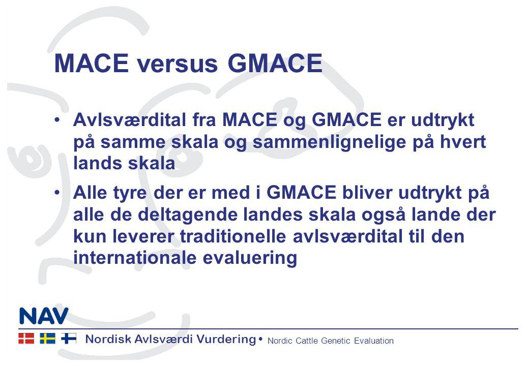 Nordisk Avlsværdi Vurdering Nordic Cattle Genetic Evaluation MACE versus GMACE Avlsværdital fra MACE og GMACE er udtrykt på samme skala og sammenlignelige på hvert lands skala Alle tyre der er med i GMACE bliver udtrykt på alle de deltagende landes skala også lande der kun leverer traditionelle avlsværdital til den internationale evaluering