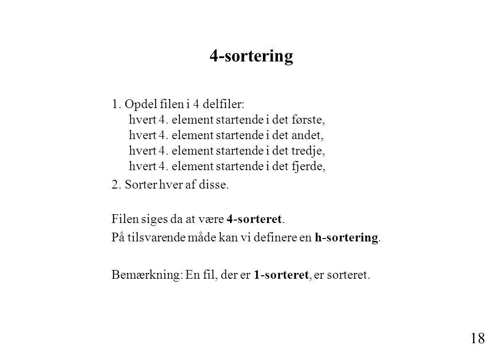 18 4-sortering 1. Opdel filen i 4 delfiler: hvert 4.