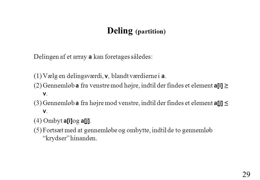 29 Deling (partition) Delingen af et array a kan foretages således: (1)Vælg en delingsværdi, v, blandt værdierne i a.