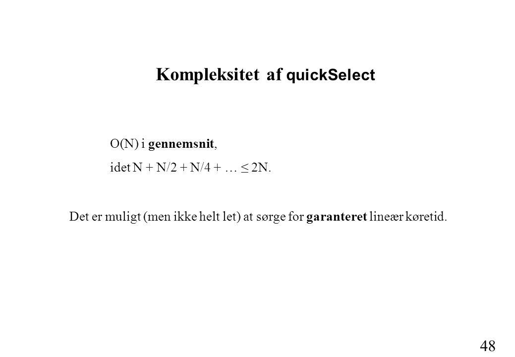 48 O(N) i gennemsnit, idet N + N/2 + N/4 + … ≤ 2N.