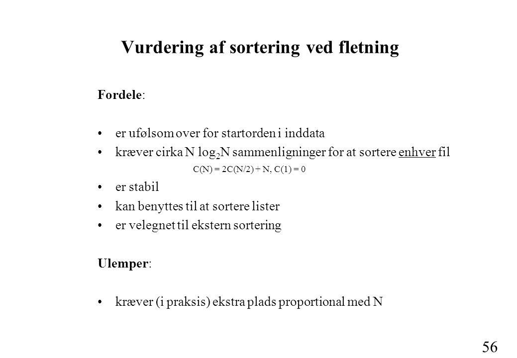 56 Vurdering af sortering ved fletning Fordele: er ufølsom over for startorden i inddata kræver cirka N log 2 N sammenligninger for at sortere enhver fil C(N) = 2C(N/2) + N, C(1) = 0 er stabil kan benyttes til at sortere lister er velegnet til ekstern sortering Ulemper: kræver (i praksis) ekstra plads proportional med N