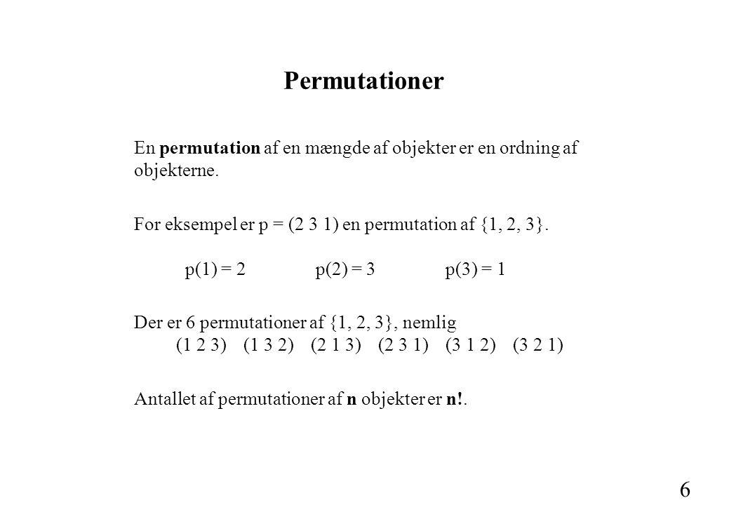 6 Permutationer En permutation af en mængde af objekter er en ordning af objekterne.