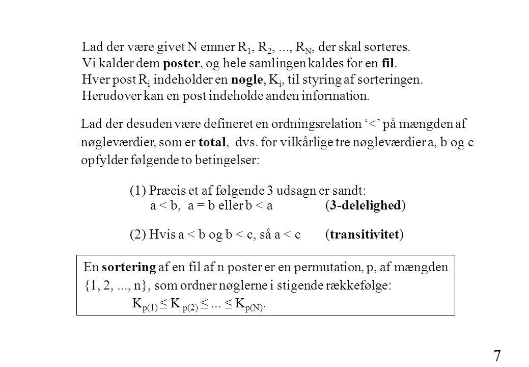 7 Lad der desuden være defineret en ordningsrelation '<' på mængden af nøgleværdier, som er total, dvs.
