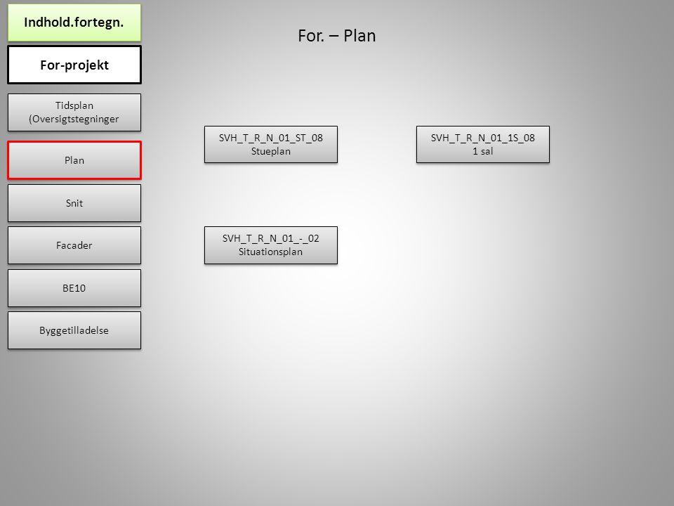 For-projekt Plan Snit Facader BE10 Byggetilladelse Indhold.fortegn.