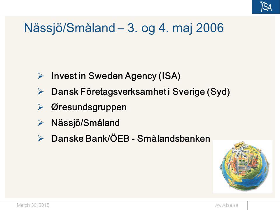 March 30, 2015www.isa.se Nässjö/Småland – 3. og 4.