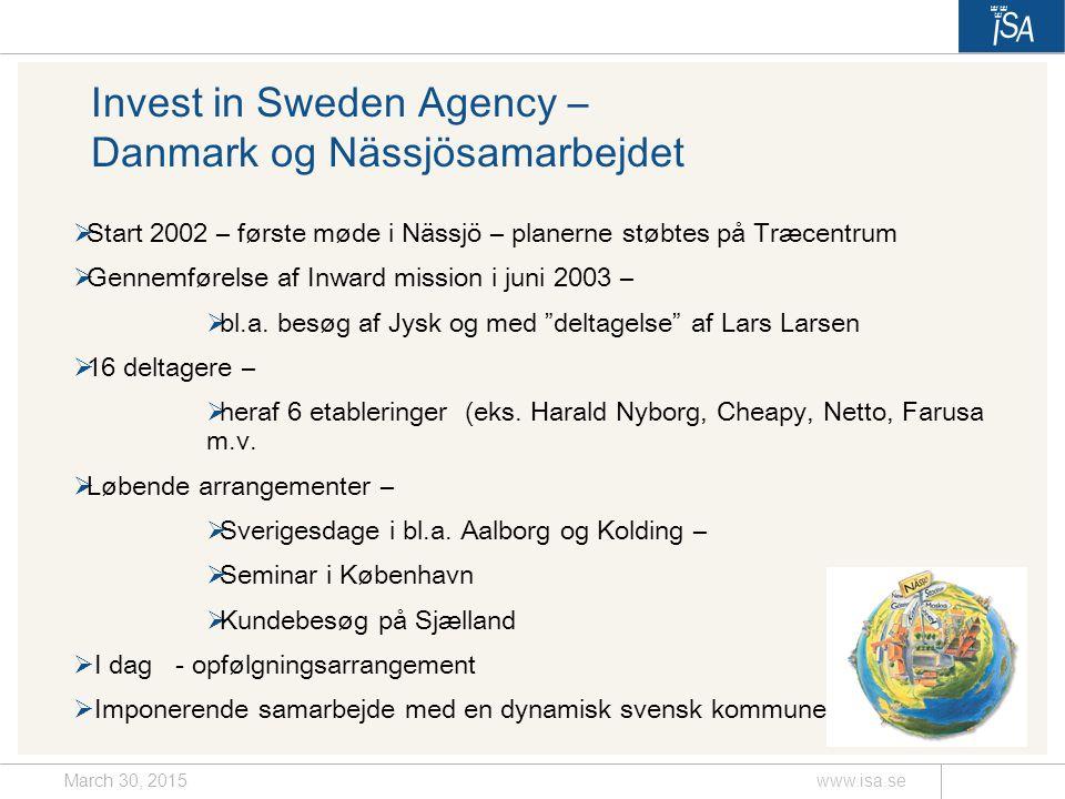 March 30, 2015www.isa.se Invest in Sweden Agency – Danmark og Nässjösamarbejdet  Start 2002 – første møde i Nässjö – planerne støbtes på Træcentrum  Gennemførelse af Inward mission i juni 2003 –  bl.a.