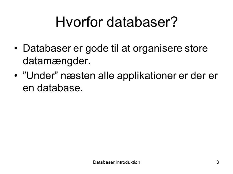 Databaser, introduktion3 Hvorfor databaser. Databaser er gode til at organisere store datamængder.