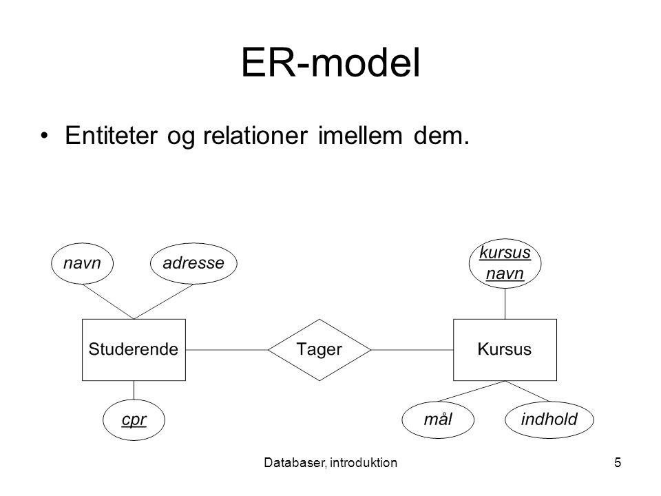 Databaser, introduktion5 ER-model Entiteter og relationer imellem dem.