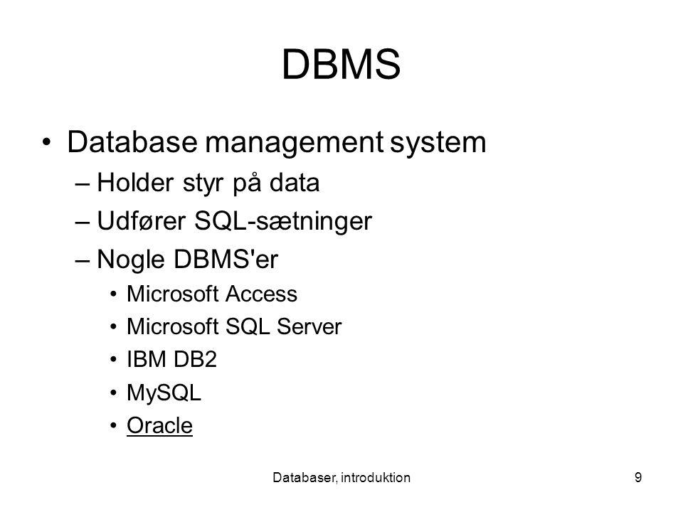 Databaser, introduktion9 DBMS Database management system –Holder styr på data –Udfører SQL-sætninger –Nogle DBMS er Microsoft Access Microsoft SQL Server IBM DB2 MySQL Oracle