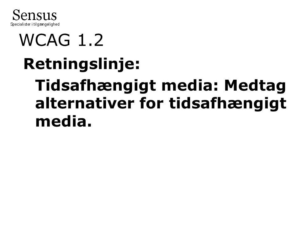 WCAG 1.2 Retningslinje: Tidsafhængigt media: Medtag alternativer for tidsafhængigt media.