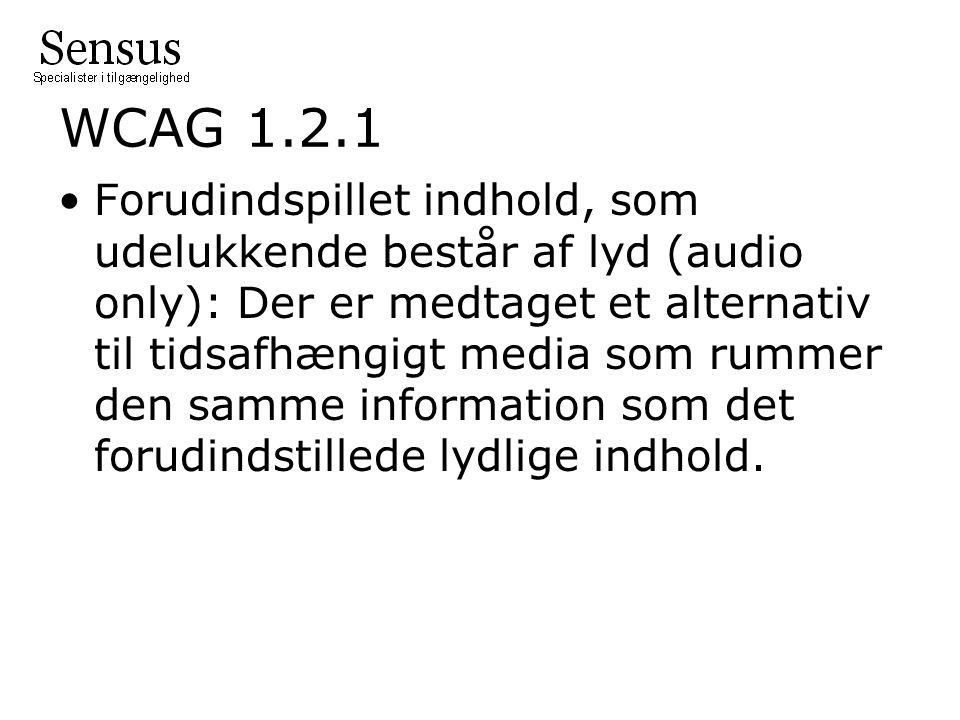 WCAG 1.2.1 Forudindspillet indhold, som udelukkende består af lyd (audio only): Der er medtaget et alternativ til tidsafhængigt media som rummer den samme information som det forudindstillede lydlige indhold.
