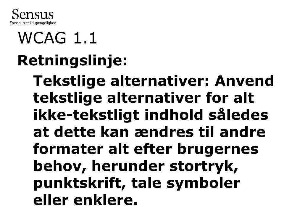 WCAG 1.1 Retningslinje: Tekstlige alternativer: Anvend tekstlige alternativer for alt ikke-tekstligt indhold således at dette kan ændres til andre formater alt efter brugernes behov, herunder stortryk, punktskrift, tale symboler eller enklere.