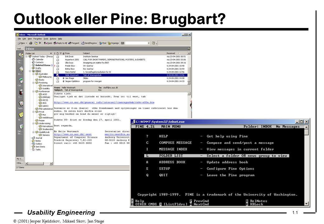 © (2001) Jesper Kjeldskov, Mikael Skov, Jan Stage 1.1 Usability Engineering Outlook eller Pine: Brugbart