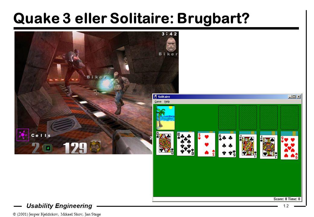 © (2001) Jesper Kjeldskov, Mikael Skov, Jan Stage 1.2 Usability Engineering Quake 3 eller Solitaire: Brugbart