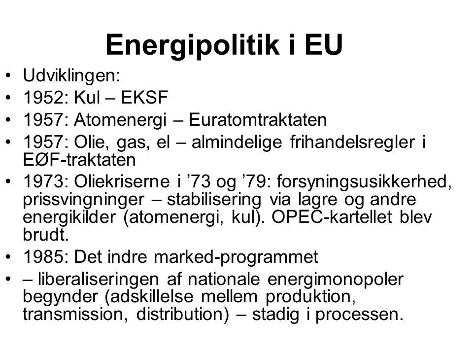 Energipolitik i EU Udviklingen: 1952: Kul – EKSF 1957: Atomenergi – Euratomtraktaten 1957: Olie, gas, el – almindelige frihandelsregler i EØF-traktaten 1973: Oliekriserne i '73 og '79: forsyningsusikkerhed, prissvingninger – stabilisering via lagre og andre energikilder (atomenergi, kul).
