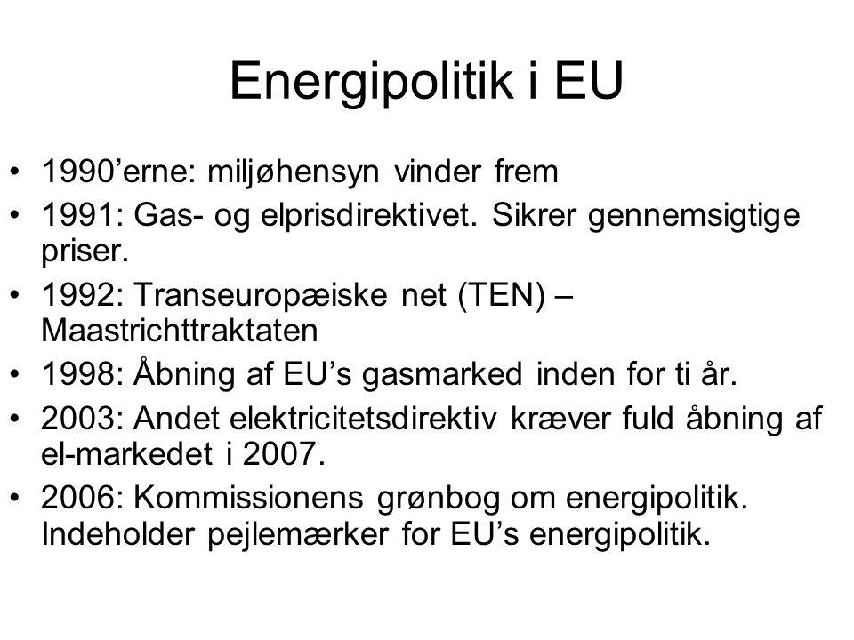 Energipolitik i EU 1990'erne: miljøhensyn vinder frem 1991: Gas- og elprisdirektivet.