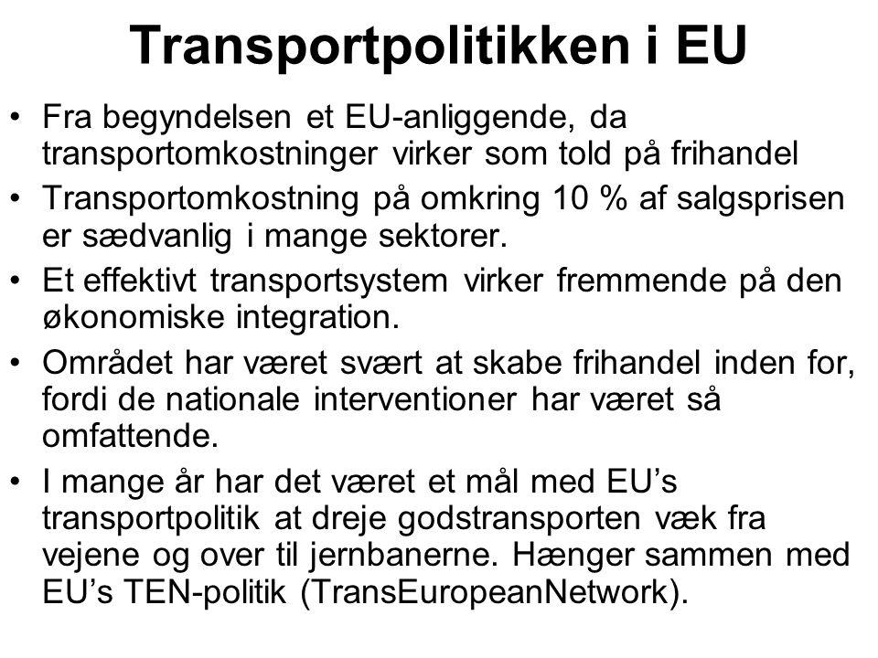 Transportpolitikken i EU Fra begyndelsen et EU-anliggende, da transportomkostninger virker som told på frihandel Transportomkostning på omkring 10 % af salgsprisen er sædvanlig i mange sektorer.