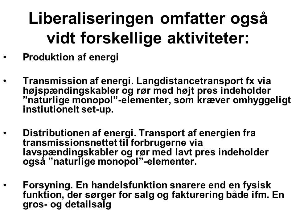 Liberaliseringen omfatter også vidt forskellige aktiviteter: Produktion af energi Transmission af energi.