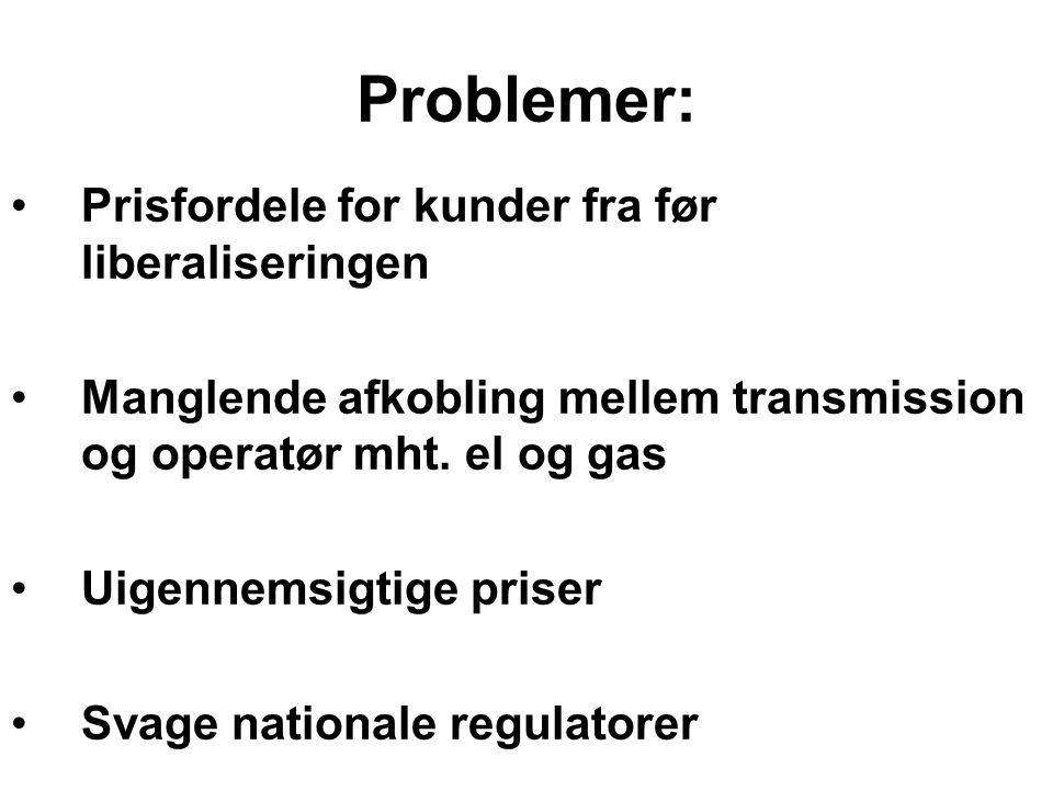 Problemer: Prisfordele for kunder fra før liberaliseringen Manglende afkobling mellem transmission og operatør mht.
