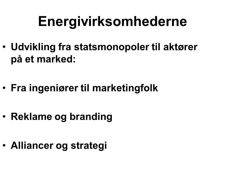 Energivirksomhederne Udvikling fra statsmonopoler til aktører på et marked: Fra ingeniører til marketingfolk Reklame og branding Alliancer og strategi