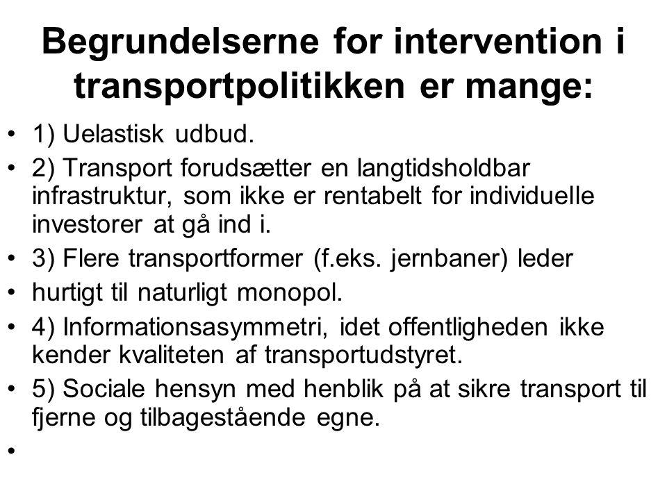 Begrundelserne for intervention i transportpolitikken er mange: 1) Uelastisk udbud.