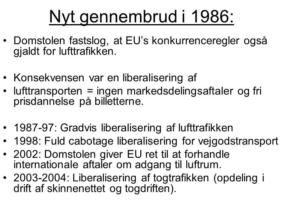 Nyt gennembrud i 1986: Domstolen fastslog, at EU's konkurrenceregler også gjaldt for lufttrafikken.