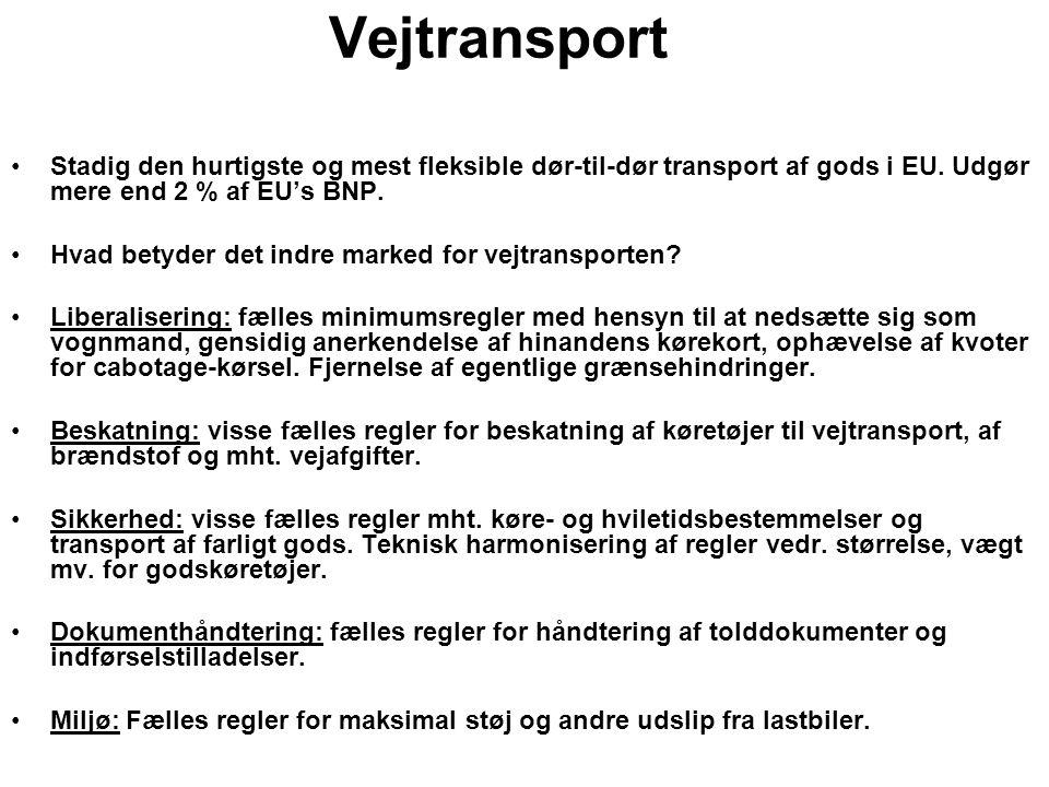 Vejtransport Stadig den hurtigste og mest fleksible dør-til-dør transport af gods i EU.