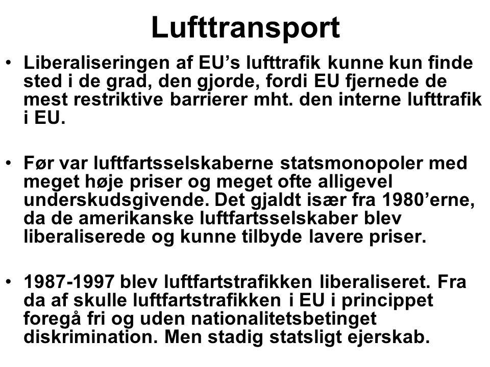 Lufttransport Liberaliseringen af EU's lufttrafik kunne kun finde sted i de grad, den gjorde, fordi EU fjernede de mest restriktive barrierer mht.