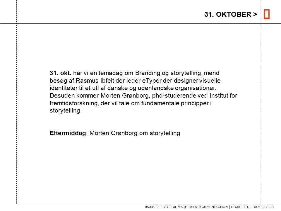 31. OKTOBER > 05.08.03 | DIGITAL ÆSTETIK OG KOMMUNIKATION | DDAK | ITU | DKM | E2003 31.