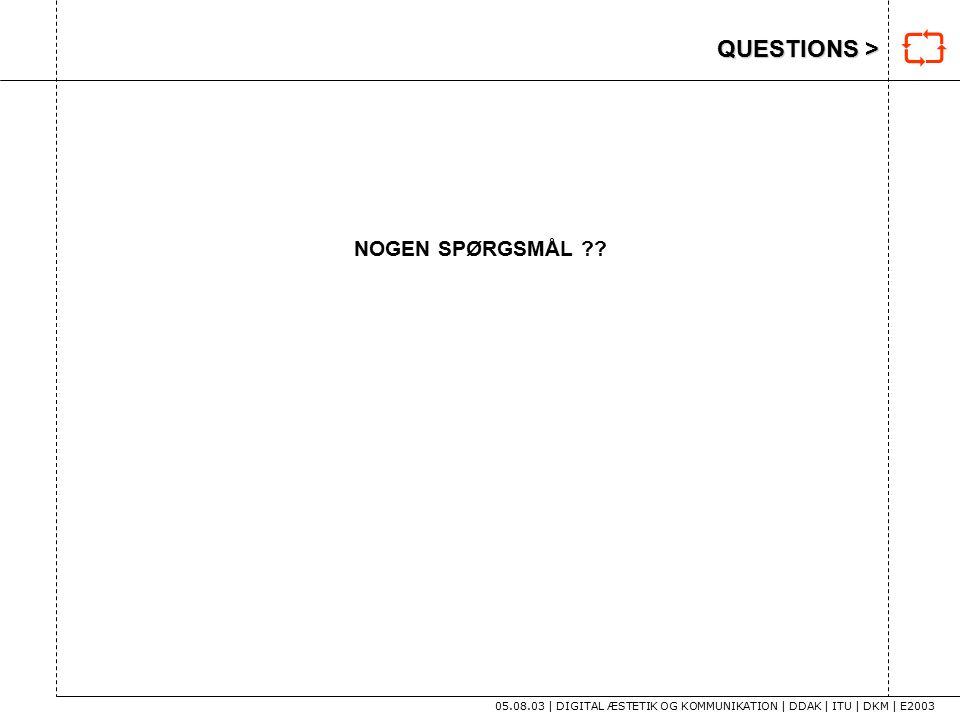 QUESTIONS > 05.08.03 | DIGITAL ÆSTETIK OG KOMMUNIKATION | DDAK | ITU | DKM | E2003 NOGEN SPØRGSMÅL .