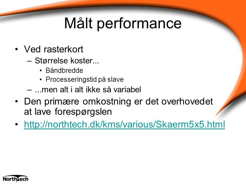 Målt performance Ved rasterkort –Størrelse koster...