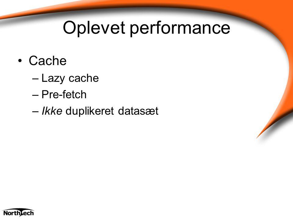Oplevet performance Cache –Lazy cache –Pre-fetch –Ikke duplikeret datasæt