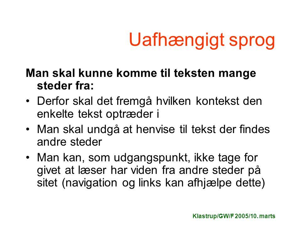 Klastrup/GW/F 2005/10.