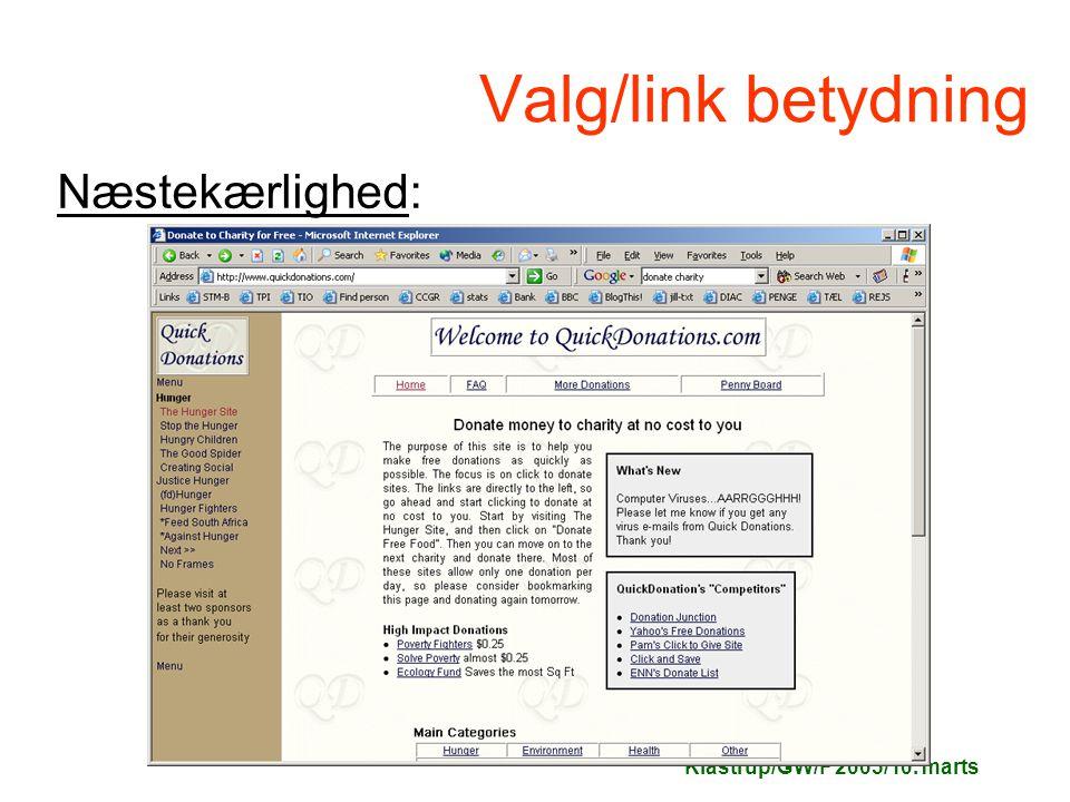 Klastrup/GW/F 2005/10. marts Valg/link betydning Næstekærlighed: