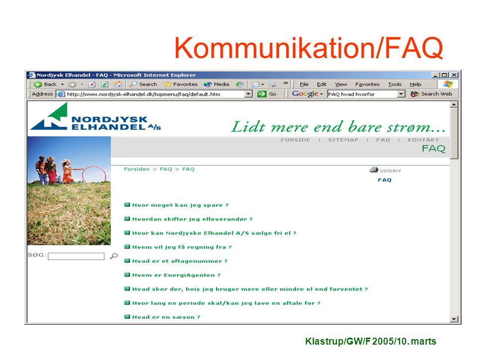Klastrup/GW/F 2005/10. marts Kommunikation/FAQ