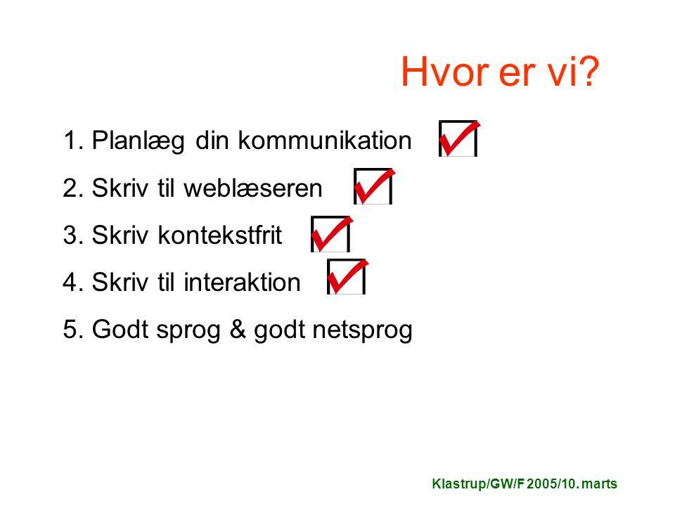Klastrup/GW/F 2005/10. marts Hvor er vi. 1. Planlæg din kommunikation 2.