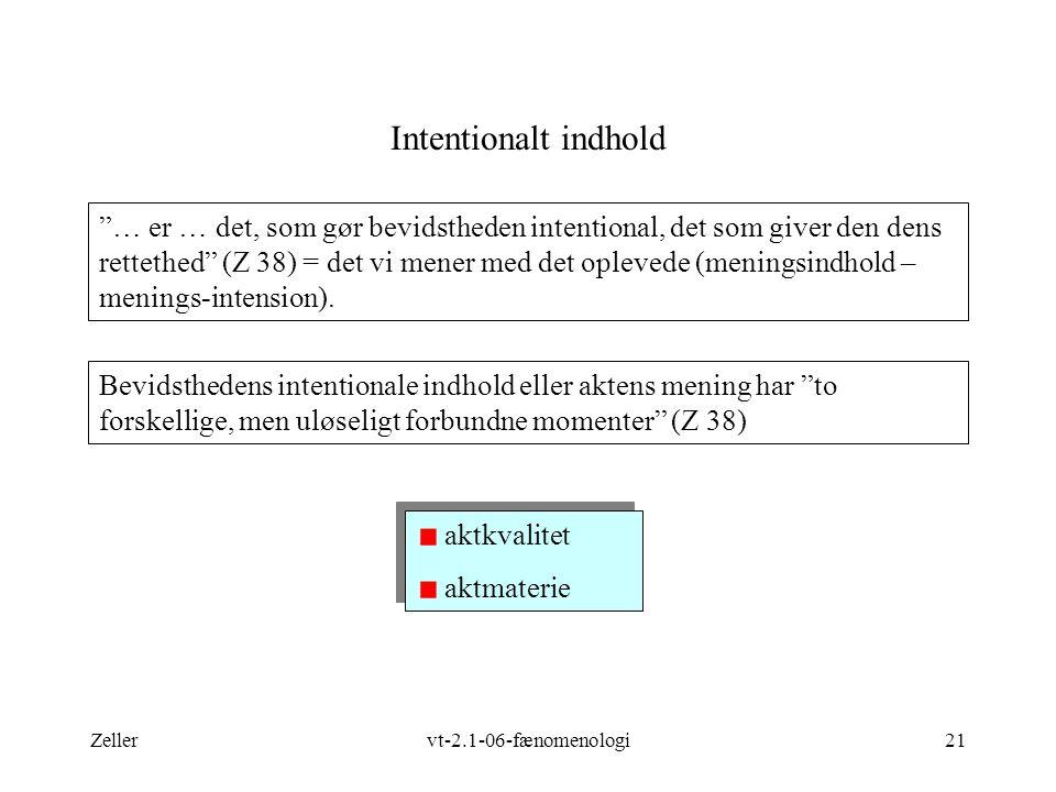 Zellervt-2.1-06-fænomenologi21 Intentionalt indhold Bevidsthedens intentionale indhold eller aktens mening har to forskellige, men uløseligt forbundne momenter (Z 38) aktkvalitet aktmaterie aktkvalitet aktmaterie … er … det, som gør bevidstheden intentional, det som giver den dens rettethed (Z 38) = det vi mener med det oplevede (meningsindhold – menings-intension).