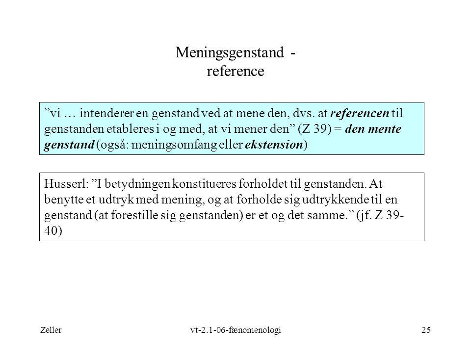 Zellervt-2.1-06-fænomenologi25 Meningsgenstand - reference vi … intenderer en genstand ved at mene den, dvs.