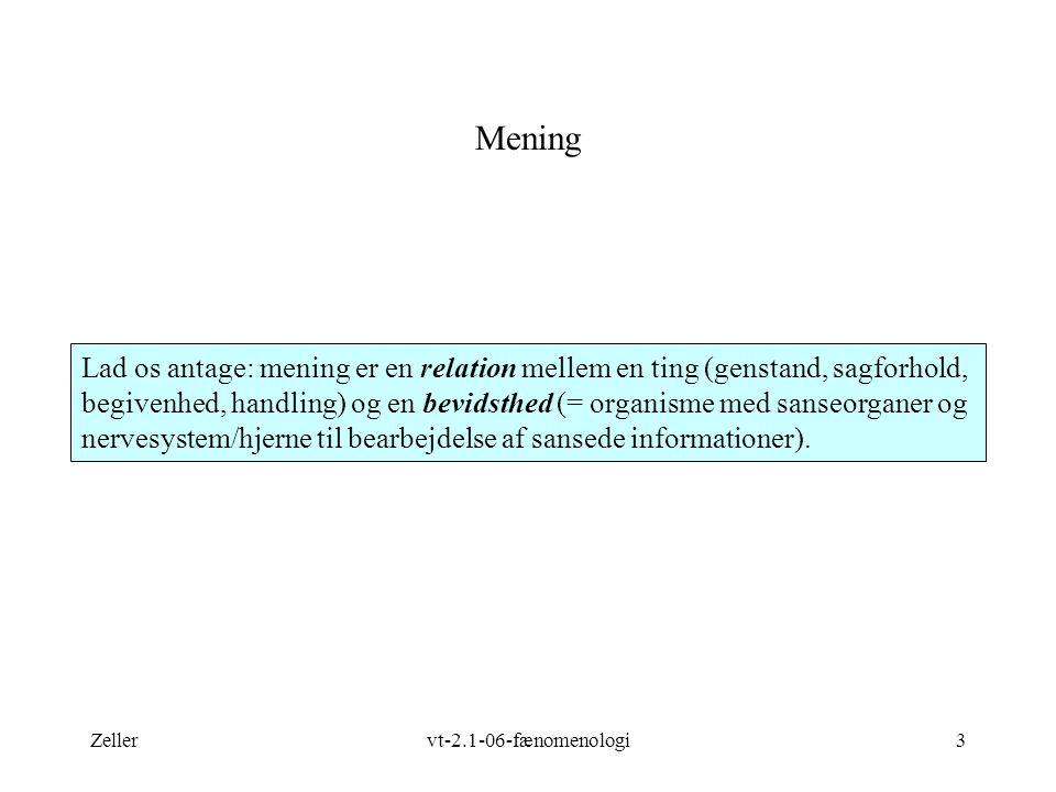 Zellervt-2.1-06-fænomenologi3 Mening Lad os antage: mening er en relation mellem en ting (genstand, sagforhold, begivenhed, handling) og en bevidsthed (= organisme med sanseorganer og nervesystem/hjerne til bearbejdelse af sansede informationer).