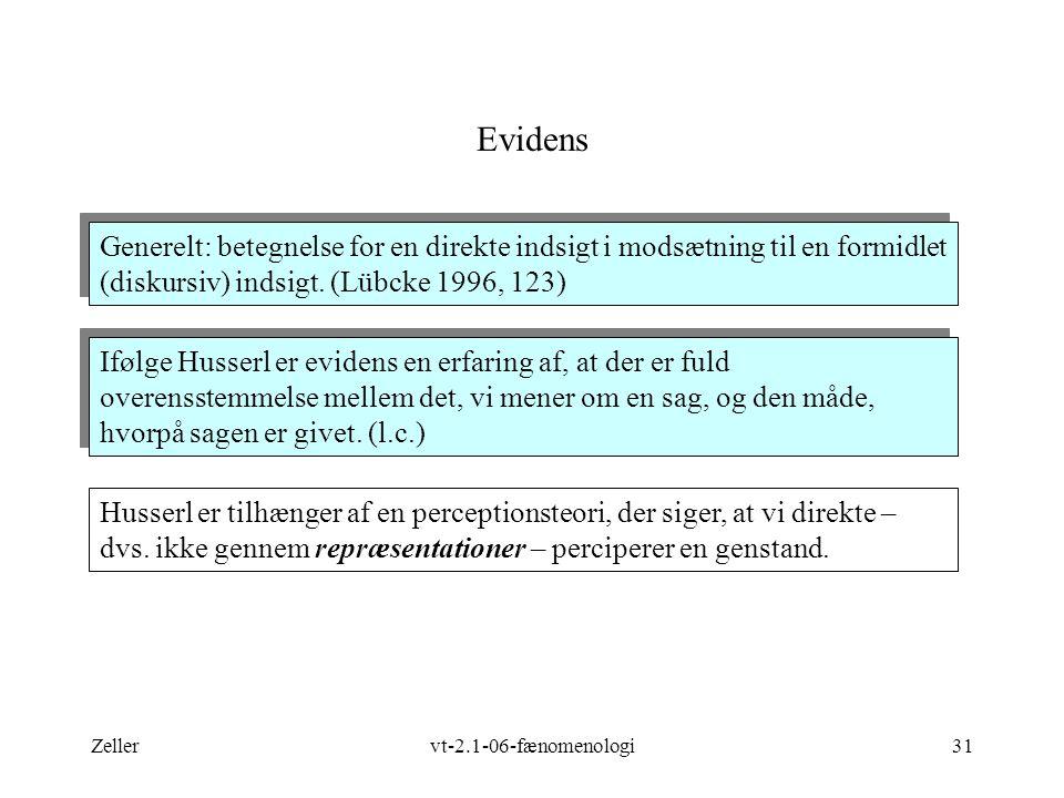 Zellervt-2.1-06-fænomenologi31 Evidens Husserl er tilhænger af en perceptionsteori, der siger, at vi direkte – dvs.