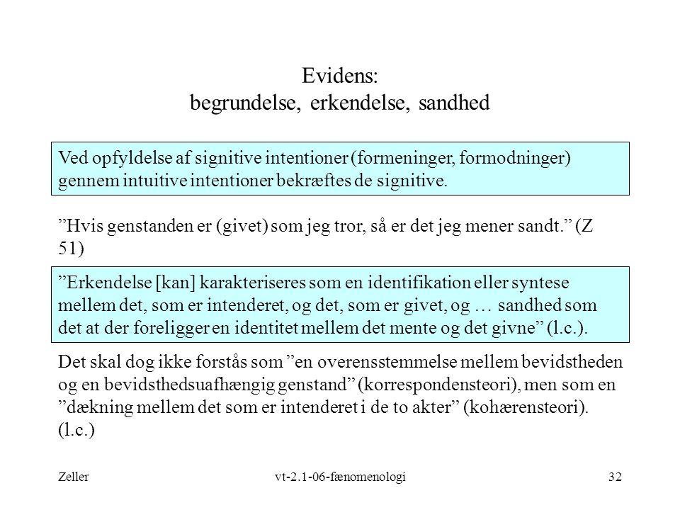 Zellervt-2.1-06-fænomenologi32 Evidens: begrundelse, erkendelse, sandhed Ved opfyldelse af signitive intentioner (formeninger, formodninger) gennem intuitive intentioner bekræftes de signitive.