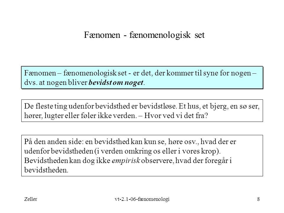 Zellervt-2.1-06-fænomenologi8 Fænomen - fænomenologisk set Fænomen – fænomenologisk set - er det, der kommer til syne for nogen – dvs.