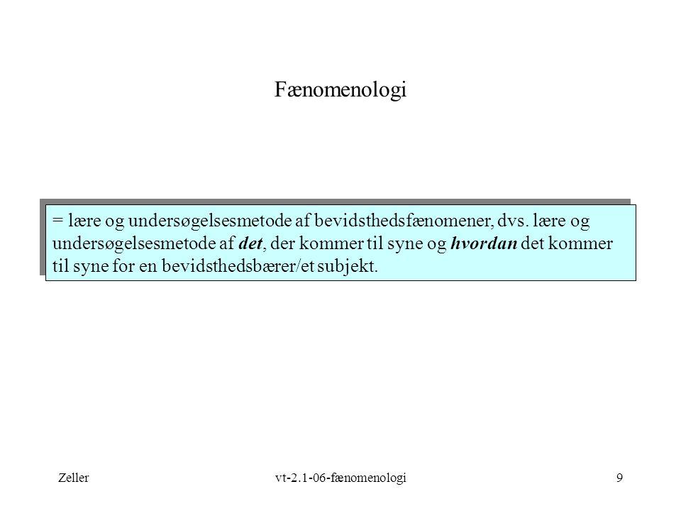 Zellervt-2.1-06-fænomenologi9 Fænomenologi = lære og undersøgelsesmetode af bevidsthedsfænomener, dvs.