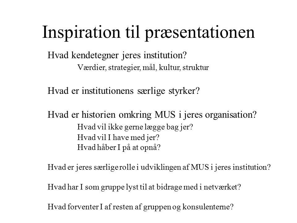 Inspiration til præsentationen Hvad kendetegner jeres institution.