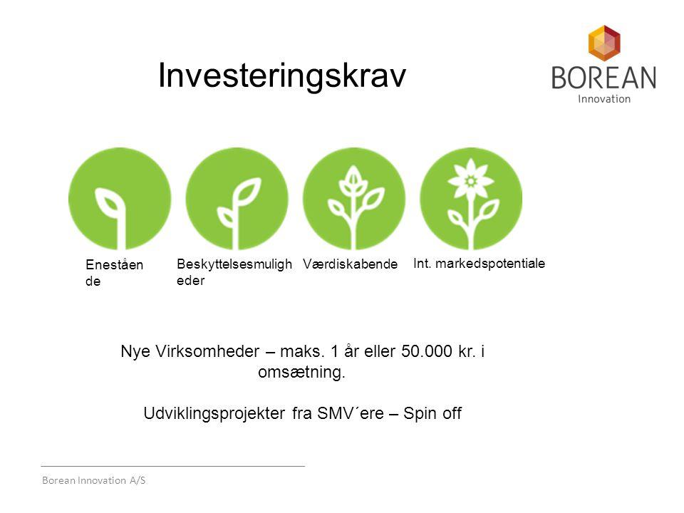 Borean Innovation A/S Investeringskrav Værdiskabende Eneståen de Beskyttelsesmuligh eder Int.