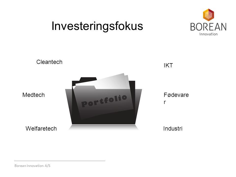 Borean Innovation A/S Investeringsfokus Cleantech Medtech Welfaretech IKT Fødevare r Industri