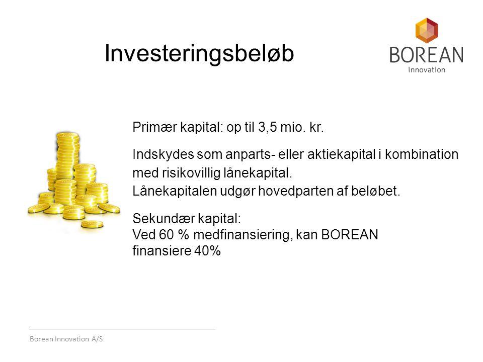 Borean Innovation A/S Investeringsbeløb Primær kapital: op til 3,5 mio.
