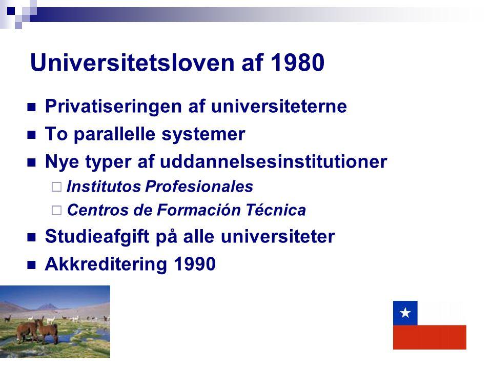 Universitetsloven af 1980 Privatiseringen af universiteterne To parallelle systemer Nye typer af uddannelsesinstitutioner  Institutos Profesionales  Centros de Formación Técnica Studieafgift på alle universiteter Akkreditering 1990