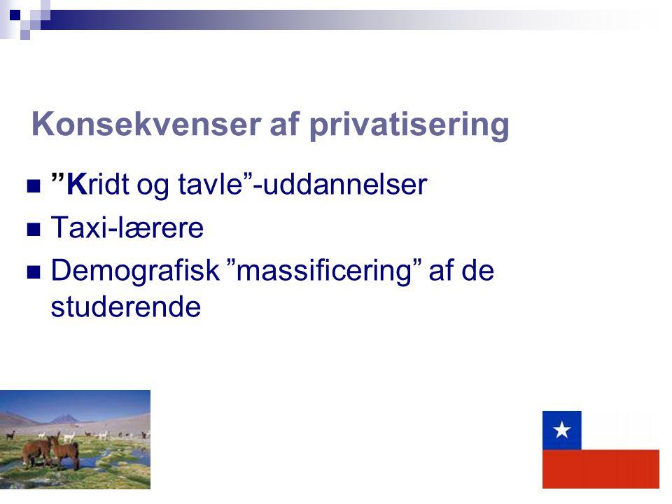 Konsekvenser af privatisering Kridt og tavle -uddannelser Taxi-lærere Demografisk massificering af de studerende